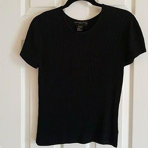 Black short sleeved scoop neck sweater
